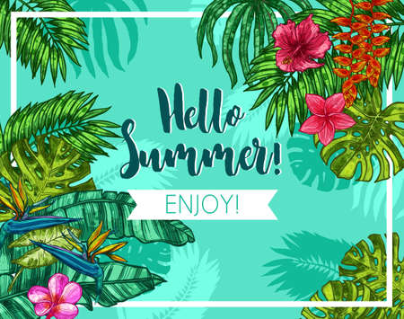 Stylish Colorful Typographical Summer Poster. Sketch Hand Drawn Design With Tropical Plants And Flowers