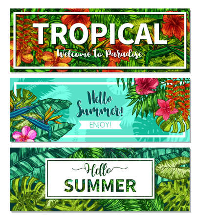 Hand Drawn Typographical Summer Horizontal Banners. Sketch Design With Tropical Plants And Flowers