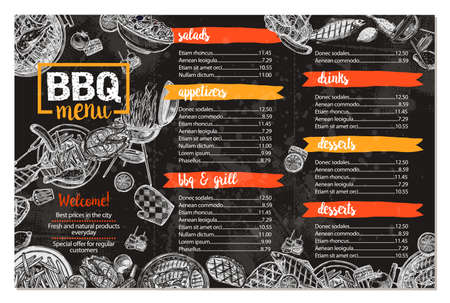 Barbecue Restaurant Menu. Template Design Of Bbq Brochure In Sketch Style On Chalkboard