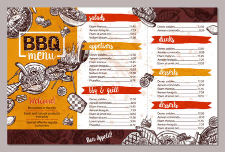 Barbecue Restaurant Menu. Template Design Of Bbq Brochure In Sketch Style Illustration