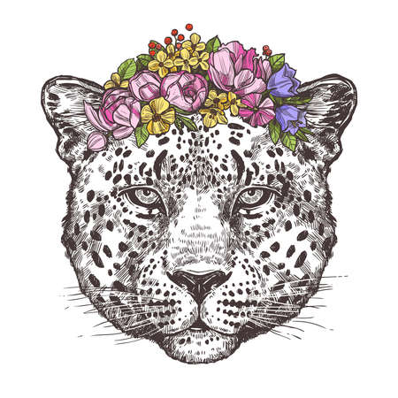 Sketch Hand Drawn Leopard Head With Color Flower Wreath