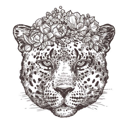 Sketch Hand Drawn Leopard Head With Flower Wreath In Black And White Style