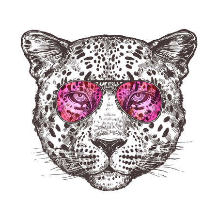 Sketch Hand Drawn Leopard Head With Sunglasses 向量圖像