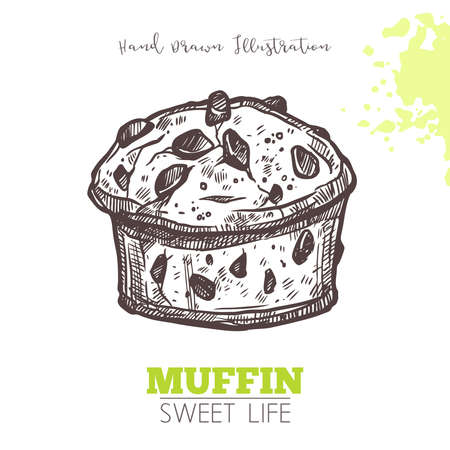 Sketch Of Sweet Bakery With Dried Fruits. Dessert Muffin In Hand Drawn Vector Style Illustration