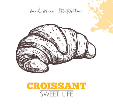 Sketch Of Sweet Croissant. Dessert Bakery In Hand Drawn Vector Style