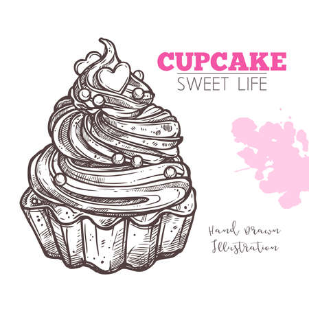 Sketch Of Sweet Cupcake With Cream. Dessert Bakery In Hand Drawn Vector Style Illustration