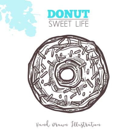 Sketch Of Sweet Donut With Cream And Confectionery. Dessert Bakery In Hand Drawn Vector Style Illustration