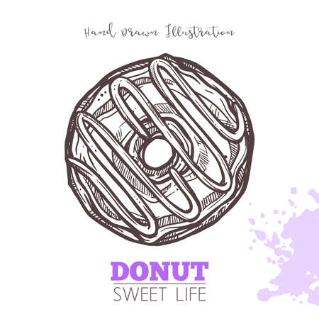 Sketch Of Sweet Donut With Cream. Dessert Bakery In Hand Drawn Vector Style