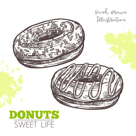 Sketch Of Sweet Donuts With Cream. Dessert Bakery In Hand Drawn Vector Style