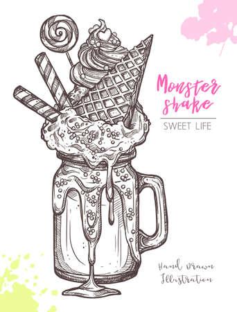 Sketch Of Sweet Freak And Crazy Milkshakes. Dessert Monstershakes In Hand Drawn Vector Style