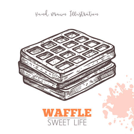 Sketch Of Sweet Waffle. Dessert Bakery In Hand Drawn Vector Style Vettoriali