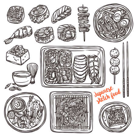 Sushi And Japanese Hand Drawn Food. Sketch style Illustration
