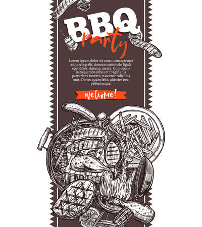 Invitación de fiesta de barbacoa, comida boceto dibujado a mano. Folleto para picnic, servicio de alimentos, banner de marketing. Plantilla de impresión de folleto publicitario. Ilustración vectorial