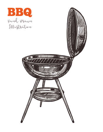 Bbq kettle grill outline black hand drawn sketch. Charcoal barbecue device for cooking snacks for summer picnic parties, holidays, outdoors. Vector illustration isolated on white background