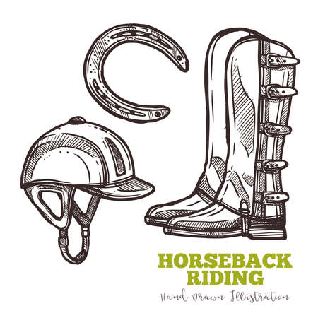 Boots of rider, helmet and horseshoe, sketch set. Hand draw illustration in engraved retro style. Vector isolated on white background. Horseback ridding equestrian concept