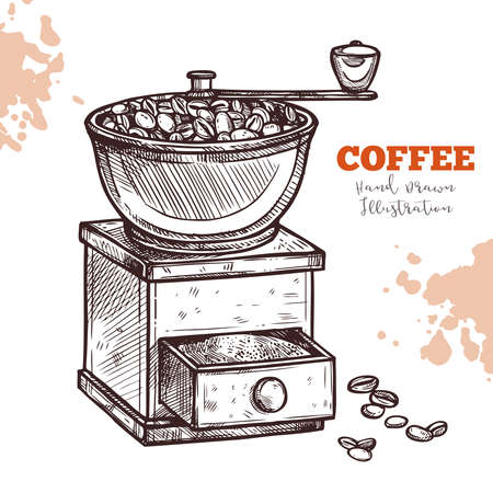 Classic coffee grinder mill, hand draw sketch. Illustration engraving ink line style. Vintage equipment for grind coffee beans. Vector image on white background