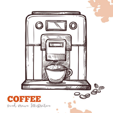 Coffee machine black hand drawn sketch isolated. Modern espresso maker in vintage engraved style isolated on white background. Vector illustration