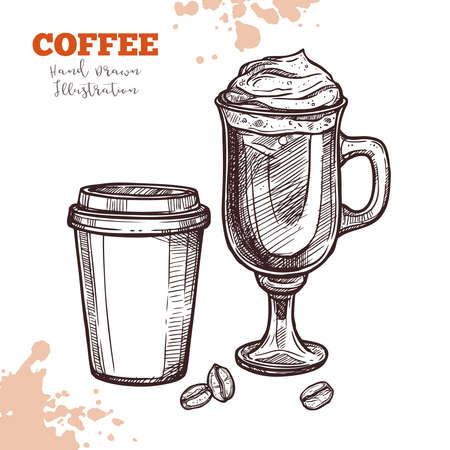 Café à emporter et cocktail de café dans une tasse en verre. Croquis dessiné à la main. Illustration dans le style de gravure. Menu de conception, cafétéria, dépliants de restaurants et autres besoins de conception Vecteurs