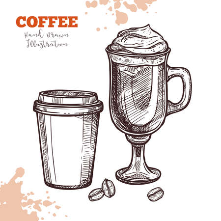 Coffee to go and coffee cocktail in glass cup. Hand drawn sketch. Illustration in engraving style. Design menu, cafeteria, restaurants flyers and other design needs Illustration