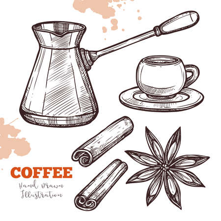 Coffee turk, cup and saucer, cinnamon and anise. Preparation and serving coffee with spices. Hand drawn sketch. Illustration in engraving style. Vector isolated on white