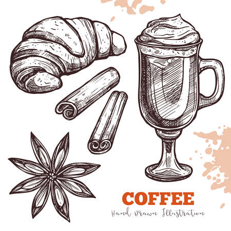 Croissant, cappuccino coffee, anise and cinnamon. Delicious breakfast or bakery products. Hand drawn vector sketch Illustration isolated on white