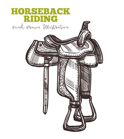 Equipment for horse riders saddle hand drawn. Vector illustration in engraved retro style. Vector isolated on white background. Horseback ridding concept. Sketch image