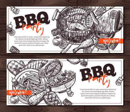 Invitations barbecue party card on wooden background. Hand drawn sketch BBQ grill food. Handbill in vintage style with sample text. Two horizontal vector cards