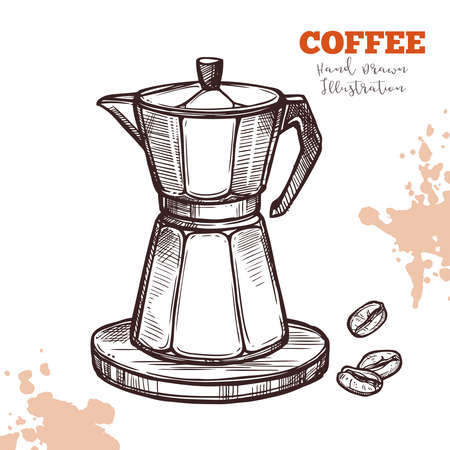 Italian Moka coffee maker handdrawn sketch isolated. Illustration engraving line style. Coffee pot with beans. Vector image on white background