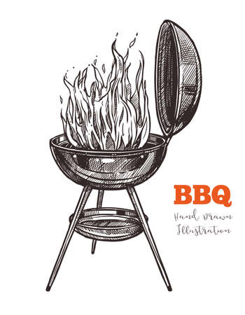 Kettle barbecue grill with flame hand drawn sketch. Bbq equipment for preparation of steaks, sausages and other dishes outdoors. Vector illustration isolated on white background