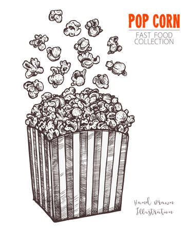 Hand drawn sketch popcorn, cinema food snack in engraved style. Vector illustration of full box with flying corn. Symbol of fastfood, cinema, entertainment. Vector isolated on white background 일러스트
