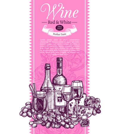 Banner invitation for tasting or purchase wine. Pink poster, mulled wine, wineglasses, grapes and cheese. Vertical card for presentation beverage 일러스트