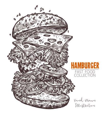 Classic cheeseburger hand drawn engraving sketch. Popular element of fast food. Burger with chop, cheese and vegetables. Vector illustration isolated on white background