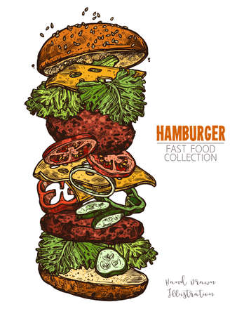 Double hamburger with meat, salad, cheese and vegetables. Hand drawn engraving colorful food image. Bright element for design of menus, signboards or posters. Vector illustration isolated on white 일러스트