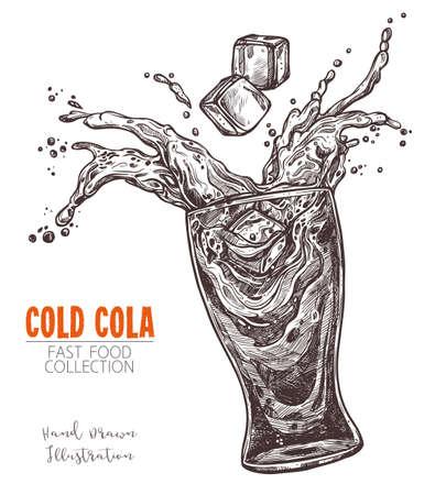 Vaso con cola salpicada y cubito de hielo, boceto dibujado a mano en estilo de grabado antiguo. Bebida de comida rápida, limonada o agua. Imagen monocroma para menú, publicidad, pancartas. Ilustración vectorial en blanco