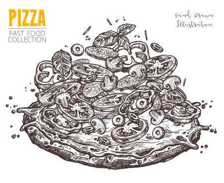 Hand drawn sketch pizza with salami and vegetables. Italian vintage whole style and signature. Vector illustration isolated on white background