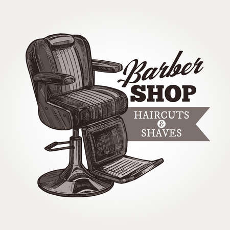 Barber shop vector sketch emblem. Engraving vintage barbershop label or badges with classic armchair and typography