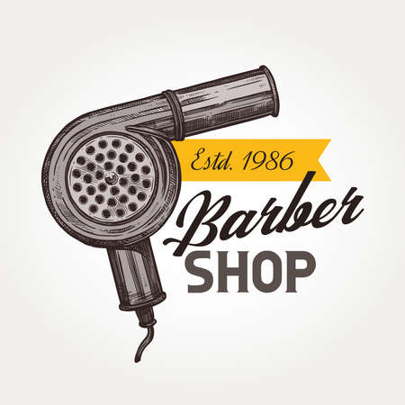Barber shop vector sketch emblem. Vintage retro hair dryer and typography 일러스트