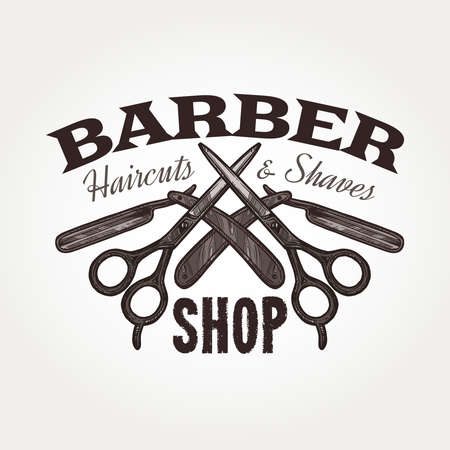 Barber shop vector sketch emblem. Engraving a vintage label or badge with scissors and typography 일러스트