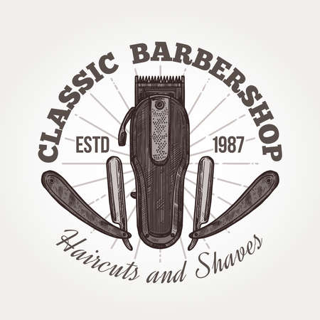 Barber shop vector sketch emblem. Engraving vintage label or badges with razor and typography