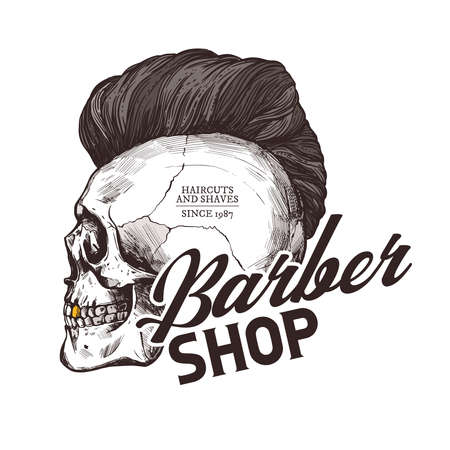Barber shop vector sketch emblem. Engraving vintage label or badges with human skull with fashionable haircut and typography 일러스트