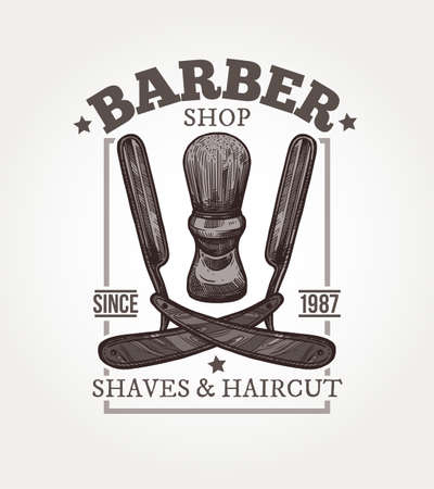 Barber shop vector sketch emblem. Engraving a vintage label or badge with razors and brush for shaving and typography 일러스트