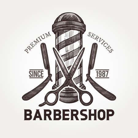 Barber shop vector sketch emblem. Engraving a vintage label or badges with razors, scissors, barbershop signboard and typography Stockfoto - 126577702