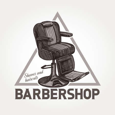 Barber shop vector triangular sketch emblem. Engraving vintage barbershop label or badges with classic armchair and typography 일러스트