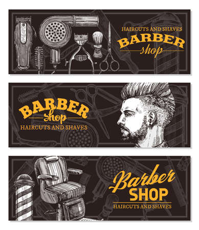 Hand drawn horizontal vector barber shop banners with sketch engraving illustration. Monochrome templates set for hair salon Stockfoto - 126577703