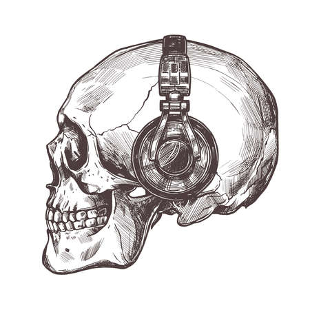 Hand drawn human skull with headphone in the profile. Vector sketch engraving illustration 版權商用圖片 - 126577704