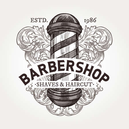 Barber shop vector sketch emblem. Engraving a vintage label or badges with barbershop signboard, baroque decoration and typography