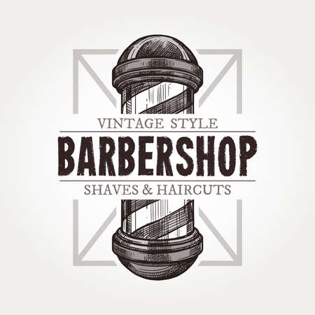 Barber shop vector sketch emblem. Engraving a vintage label or badges with classic vintage barbershop signboard and typography