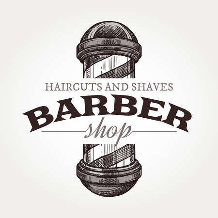 Barber shop vector sketch emblem. Engraving vintage label or badges with classic vintage barbershop signboard 일러스트