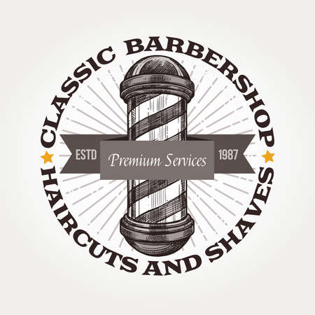 Barber shop vector sketch emblem. Round engraving vintage label or badges with barbershop signboard and typography 版權商用圖片 - 126577717