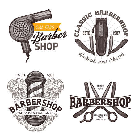 Set of retro barbershop emblems, labels and badges in sketch